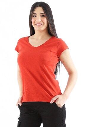 Arlin Kadın V Yaka Pamuklu Kiremit T-shirt