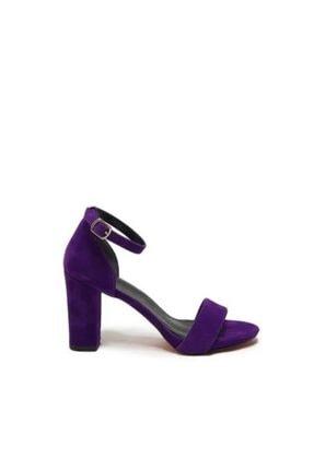 PUNTO Kadın Mor Tek Bant Topuklu Ayakkabısı