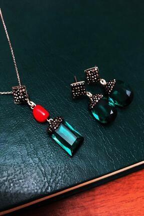 Dr. Stone Zümrüt Yeşili Hindistan Kristali Ve Mercan Gümüş Set Xdrsott8