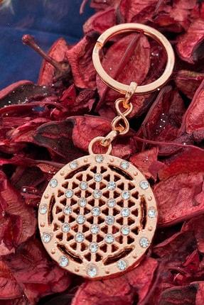 Fatma Aydın Yaşam Çiçeği Taşlı Goldrose Anahtarlık
