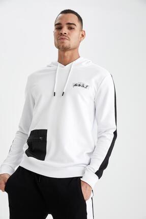 DeFacto Slim Fitbaskılı Kapüşonlu Sweatshirt