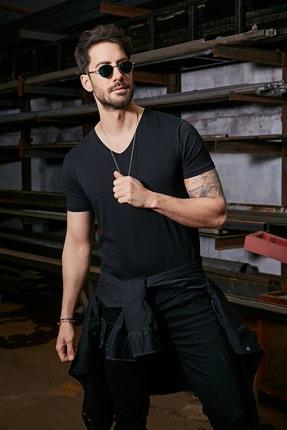 Sateen Men Erkek Siyah Kısa Kol V Yaka T-Shirt