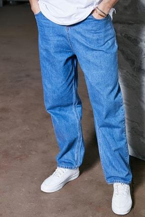 Sateen Men Erkek Mavi Yüksel Bel Rahat Pantolon