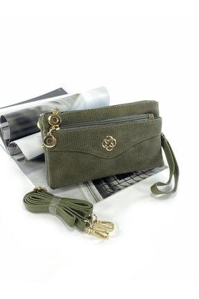 BAYANA Kullanışlı Yeşil Çapraz Askılı Çanta Cüzdan