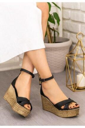 ESPARDİLE Kaly Siyah Cilt Dolgu Topuk Sandalet