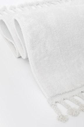 Dijidekor Beyaz Post Dokuma Halı Saçaklı Peluş Yumuşacık Kaymaz Antibakteriyel
