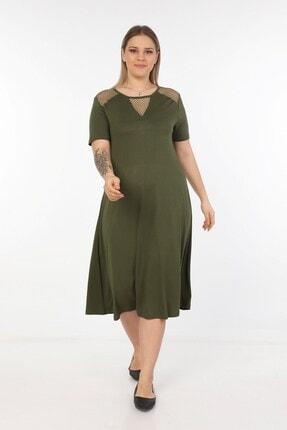 Womenice Kadın Haki Omuzları Önü Fileli Büyük Beden Elbise