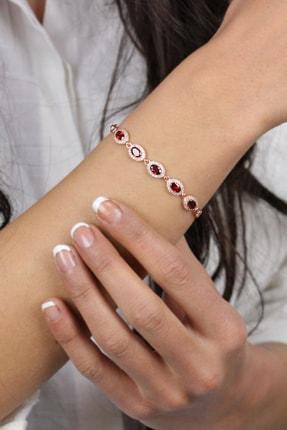 Roza Silver Kadın Rose Kırmızı Taşlı Yuvarlak Gümüş Bileklik