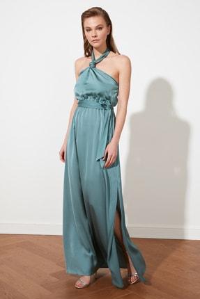 TRENDYOLMİLLA Mint Bağlama Detaylı Saten Abiye & Mezuniyet Elbisesi TPRSS21AE0025