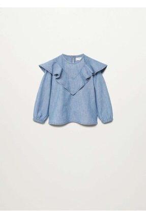 MANGO Baby Fırfırlı Kot Gömlek
