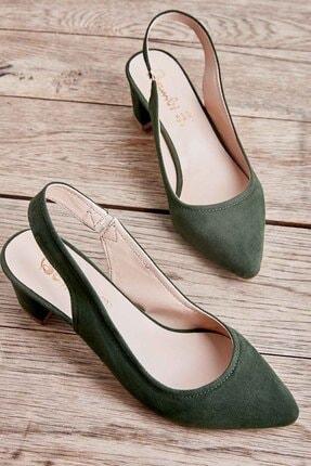Bambi Yeşil Süet Kadın Klasik Topuklu Ayakkabı K01503721072