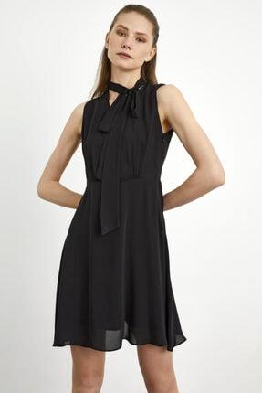 adL Kadın Siyah Yakası Fularlı Kolsuz Şifon Elbise