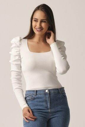 Pretty Room Kadın Beyaz Kare Yaka Prenses Kol Bluz