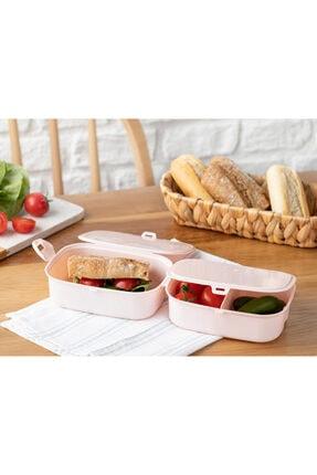 English Home Trendy Plastik 3 Bölmeli Lunch Box 15x10 Cm Pudra