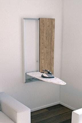 Perilla Ahşap Dolaplı Katlanabilir Dekoratif Ütü Masası Kepi Tambur