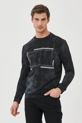 AC&Co / Altınyıldız Classics Erkek Siyah Slim Fit Günlük Rahat Bisiklet Yaka Spor Sweatshirt