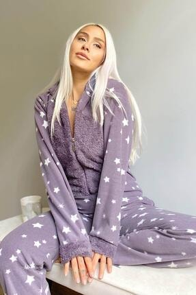 Pijamaevi Mor Stars Desenli Kadın Polar Peluş Tulum Pijama