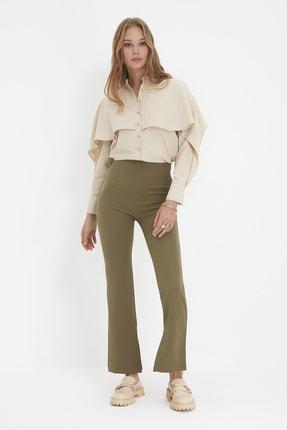 TRENDYOLMİLLA Açık Haki Petite  Yüksek Belli Pantolon TWOAW22PL0243