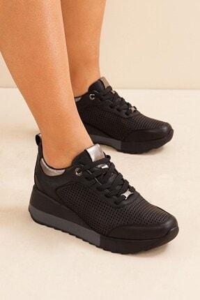 Mammamia 3265 Siyah Soft Deri Dolgu Topuk Kadın Ayakkabı