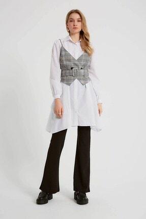 Robin Kemerli Yelek Detaylı Gömlek Takım Beyaz