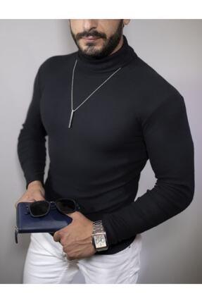 EKZMODA Erkek Siyah Boğazlı Kazak