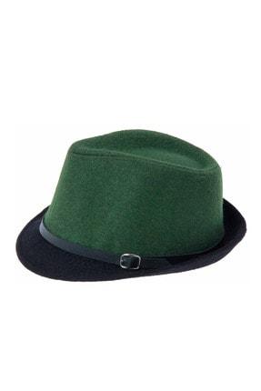 Bay Şapkacı Kadın Çift Renk Kaşe Fötr Şapka 4792 Yeşil