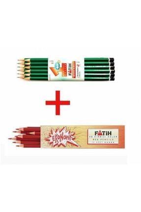 Fatih Kırmızı Kalem  Kurşun Kalem 12 Adet Set