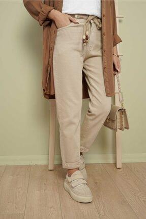 My Magazin Kadın Paça Detaylı Denim Bej Pantolon