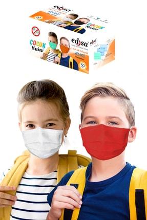 EDSA 3-14 Yaş Renkli Çocuk 50 Adet 3 Katlı Meltblownlu Telli Tek Kullanımlık Koruyucu Yüz Maskesi Eds14