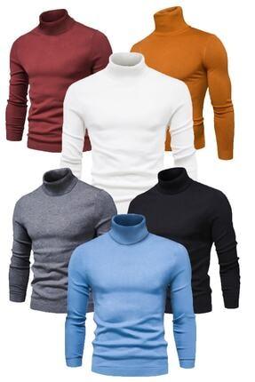 next giyim 6 Adet Boğazlı (balıkçı Yaka) Kazak (siyah - Beyaz - Bordo - Hardal - Mavi - Füme)