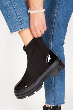 Alessia Shoes Siyak Kısa Streçli Rugan Kadın Bot