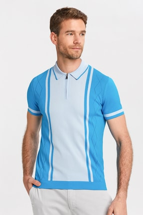 Hemington Erkek Turkuaz Çizgili Fermuarlı Triko Polo Yaka T-shirt