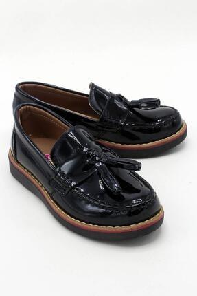 sermoda Erkek Çocuk Siyah Corcik Model Rugan Ayakkabı