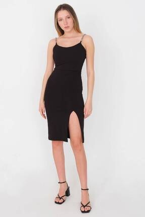 Addax Askı Detaylı Yırtmaçlı Elbise E0653 - W6