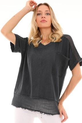 Alışveriş Sokağı File Detaylı Salaş Bol Kesim Yazlık Keten Bluz