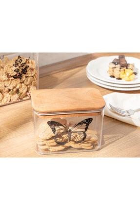 English Home Butterfly Plastik Kapaklı Erzak Kabı 1l Şeffaf
