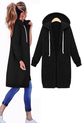 bayansepeti Üç Iplik Şardonlu Boydan Fermuarlı Kapişonlu Siyah Uzun Sweatshirt 091