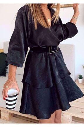 BEAUTY BOUTIQUE Kadın Kruvaze Yaka Volanlı Etek Saten Siyah Mini Elbise