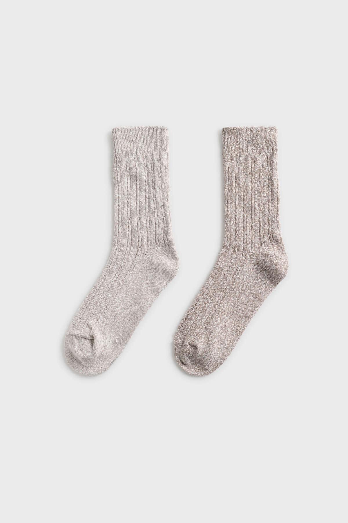 Oysho Taş  2 Çift Dokulu Orta Boy Kalın Çorap 32887486