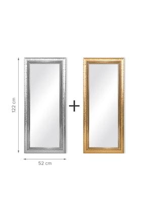 Bysolvo Ev Ofis 2 ' Li Dekoratif Duvar Boy Aynası - Altın Ve Gümüş Renk Desenli