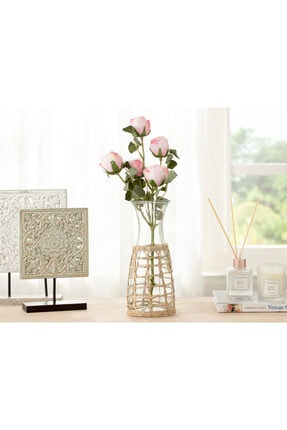 English Home Rose Bouquet Tek Dal Yapay Çiçek 61 Cm Açık Pembe
