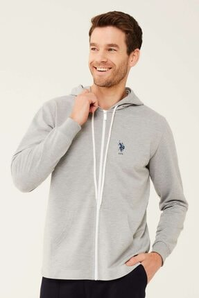 U.S. Polo Assn. Erkek Gri Melanj Kapüşonlu Sweatshirt