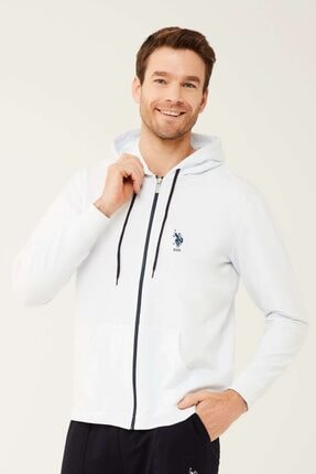 U.S. Polo Assn. Erkek Beyaz Kapşonlu  Sweatshirt