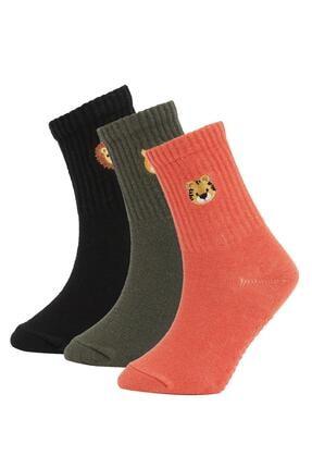 DeFacto Erkek Çocuk Eğlenceli Pamuklu 3'lü Uzun Çorap