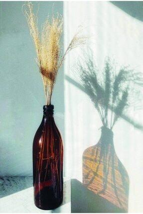 LALEZEN Retro Uzun Amber Cam Şişe Vazo 500 Ml