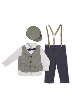 Babydoll Pamuk Erkek Bebek Yelek Gömlek Papyon Pantolon Şapka 4'lü Set
