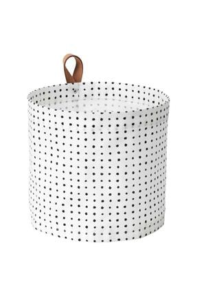 IKEA Plumsa Çamaşır Sepeti 11 Litre Beyaz Siyah