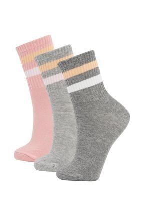 DeFacto Desenli 3'lü Soket Tenis Çorap