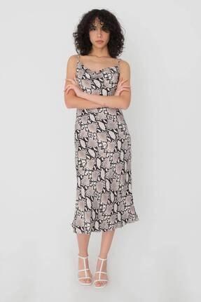 Addax Desenli Saten Elbise E12602 - V4