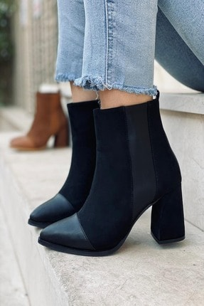 Stepsup Store Siyah Süet Yarım Çizme